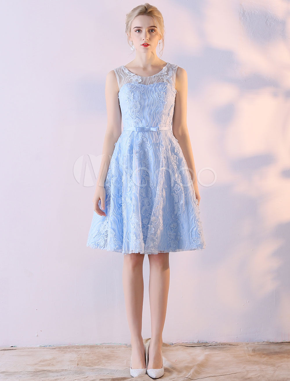 knee length light blue dress