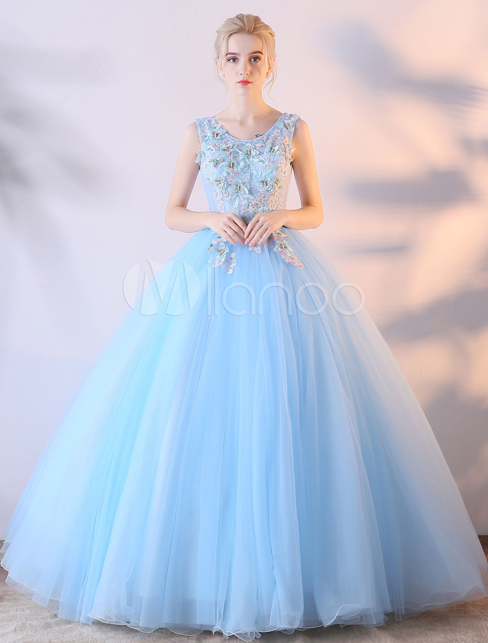 Prom Dress Ball Gown Baby Blue Lace Flowers Colored Wedding Dress V