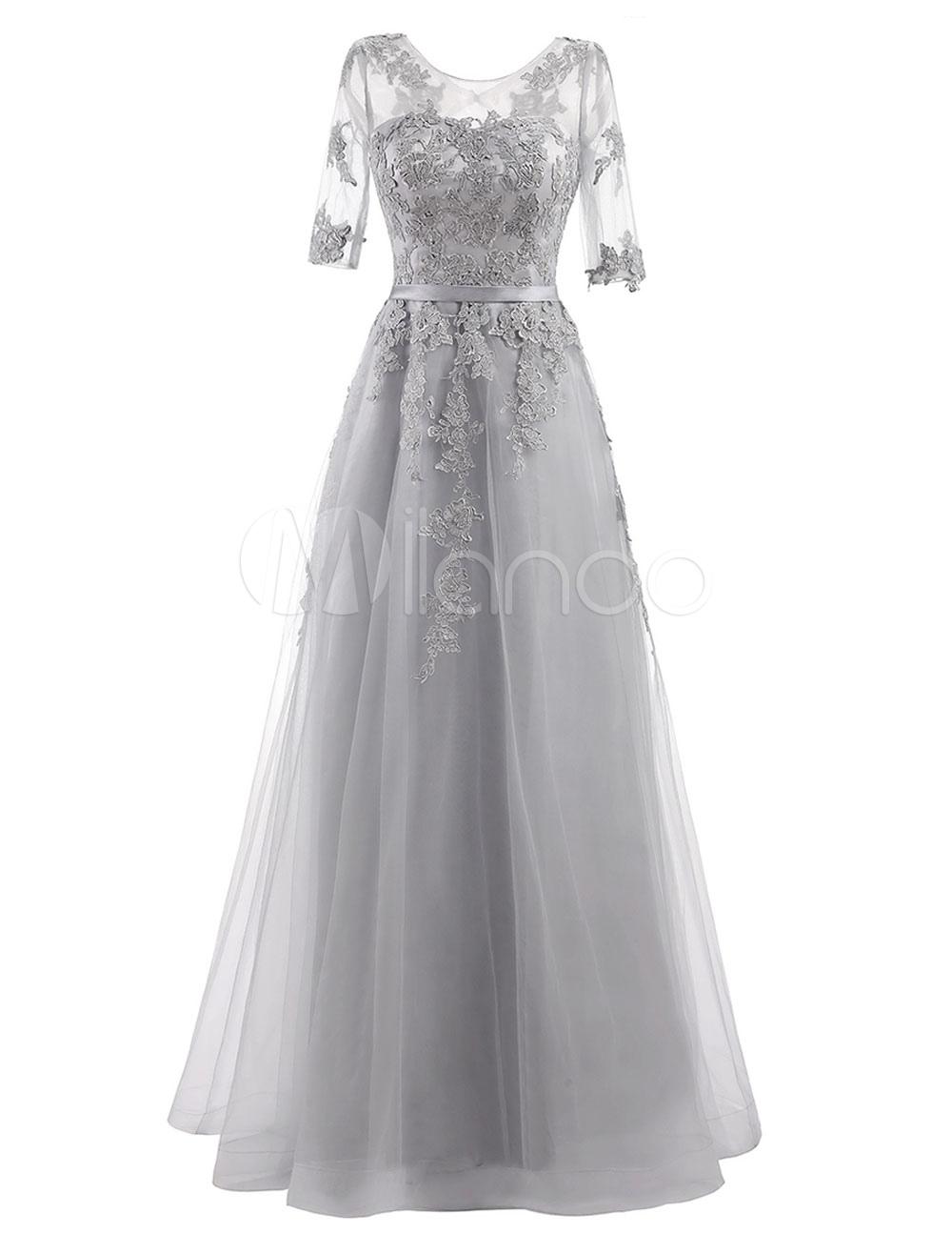 bb9e022f097 ... Evening Dress Lace Applique Tulle Half Sleeve Floor Length. 1. 50%OFF.  Color Light Grey