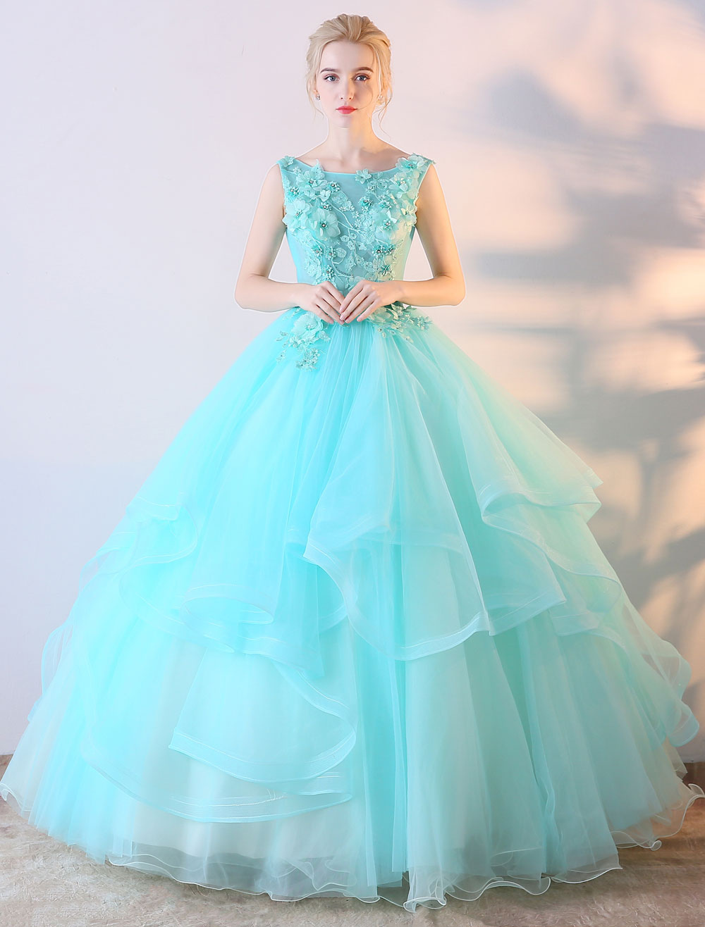Mint Green Prom Dress Ball Gown Flowers Applique Colored Wedding Dress Floor Length Quinceanera Dress