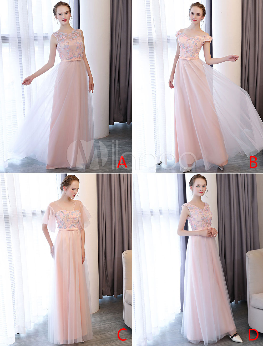 Prom Dresses Soft Pink Long Tulle Flowers Applique Backless Floor Length Formal Party Dress