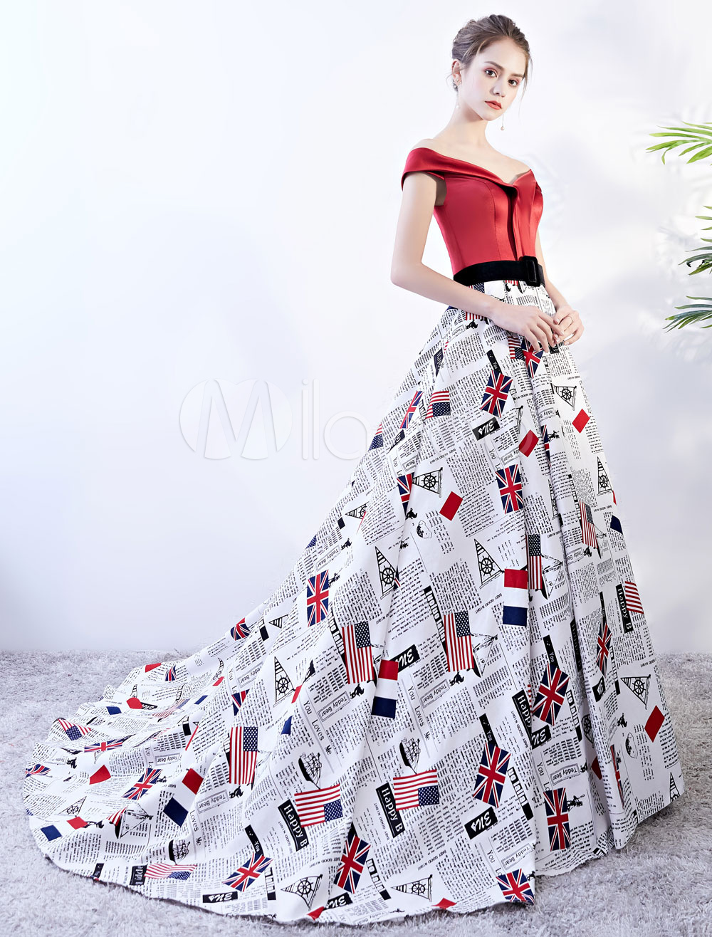 Quinceanera Dresses Satin Prom Gowns Flag Printed Women Pageant Dress With Train