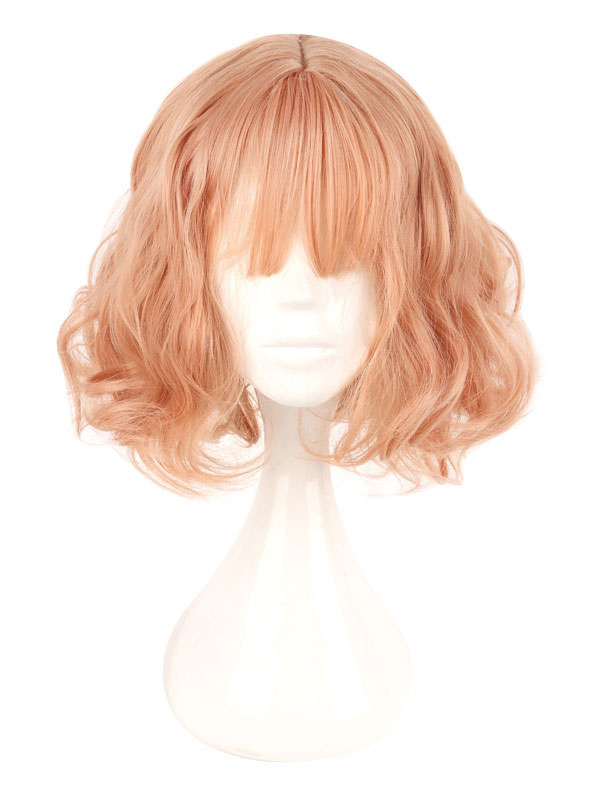 Harajuku Lolita Wig Lazy Curl Blunt Bang Orange Short Wig