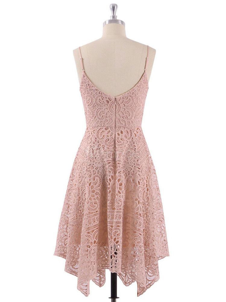 Vestidos de fiesta cortos de encaje Peach Spaghetti Straps Vestido ...
