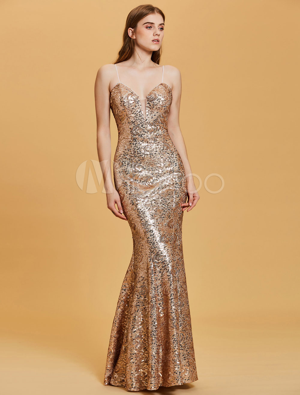 Sequin Evening Dresses Light Gold Mermaid Prom Dress Sexy Straps Floor Length Formal Gowns