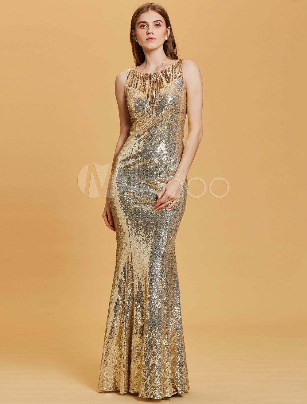 Sequin Prom Dresses Light Gold Mermaid Long Evening Dress Glitter Floor Length Formal Dress