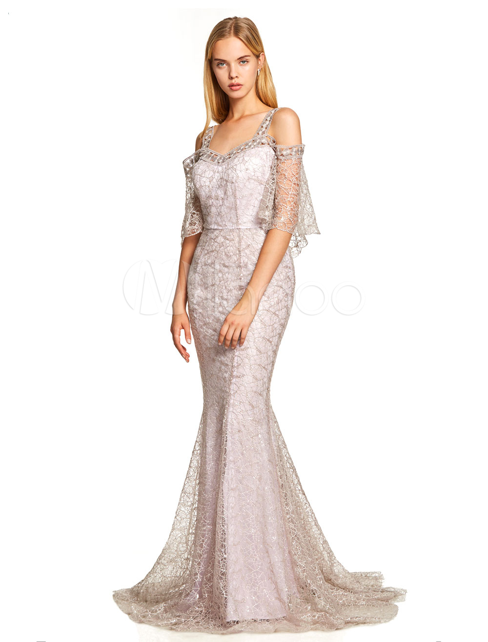 Mermaid Prom Dresses Lace Cold Shoulder Evening Dress Half Sleeve Formal Gowns With Train