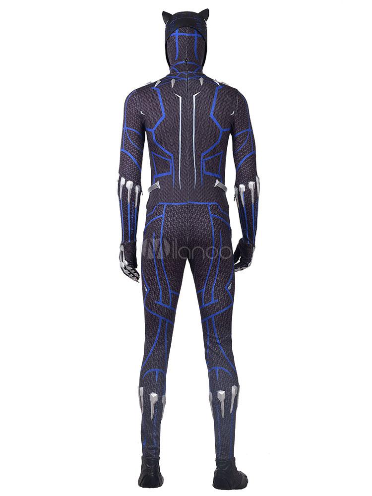 Traje de cosplay de Halloween de la Pantera T\'Challa azul Zentai ...