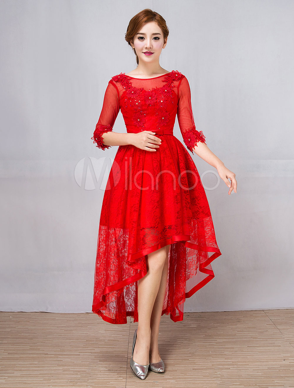 Red Cocktail Dresses Lace Half Sleeve Asymmetrical Beaded Bow Sash Short Prom Dresses
