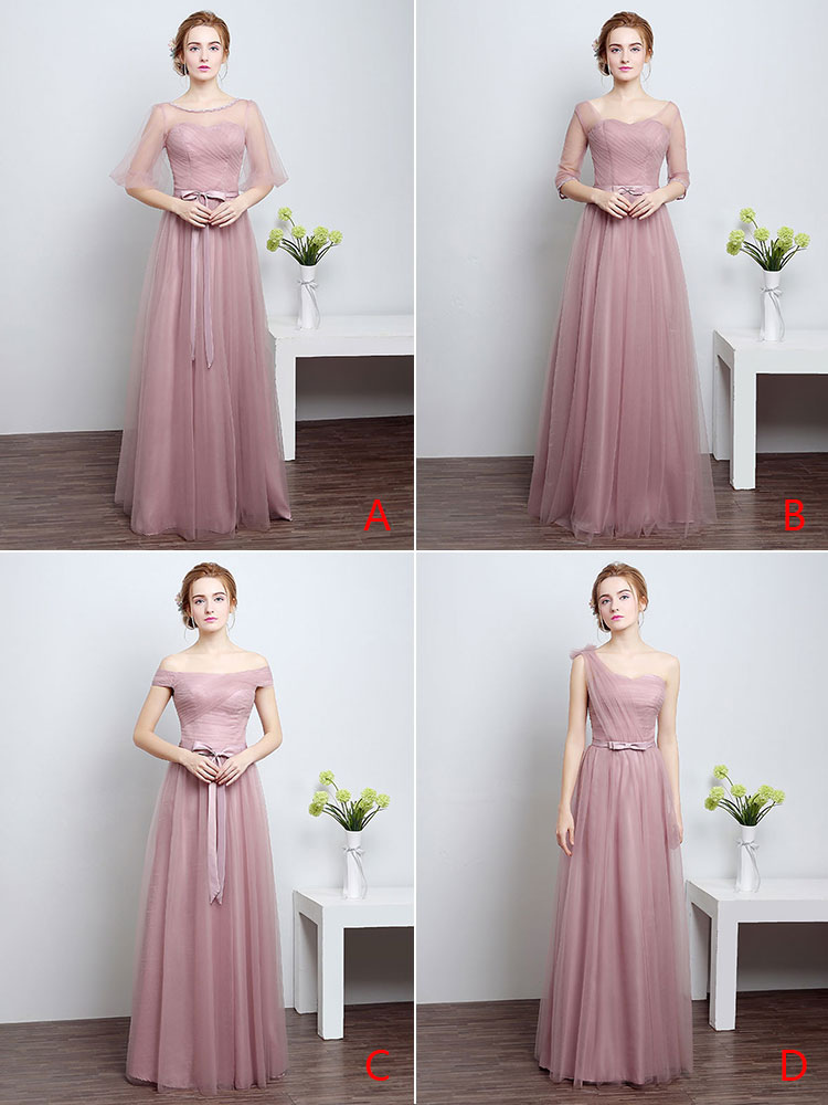 Prom Dresses Long Cameo Pink Bridesmaid Dress Tulle Ribbon Sash Floor Length Formal Party Dress