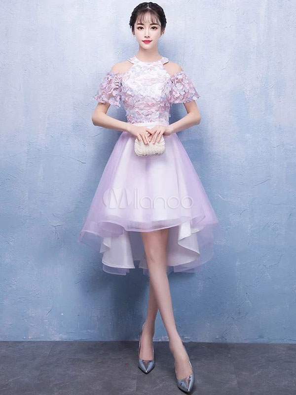 Cute Graduation Dress Soft Pink Cold Shoulder Prom Dress Short High Low Lace Tulle Party Dress
