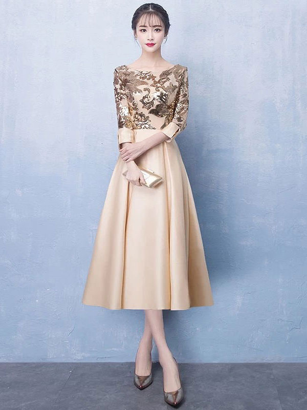 Short Prom Dresses Light Gold Satin Lace Long Sleeve Cocktail Party Dress Wedding Guest Dress