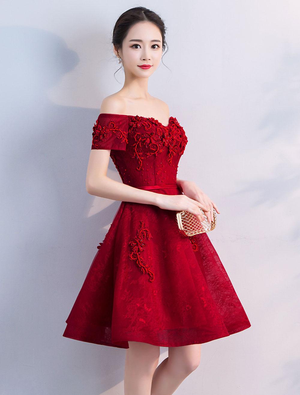 Short Prom Dresses Burgundy Lace Off The Shoulder Graduation Dress A Line Mini Party Dress
