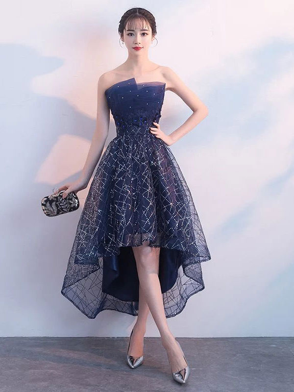6ba415f55b Short Prom Dresses Strapless Sequin Dark Navy High Low Cocktail Party Dress-No.1  ...