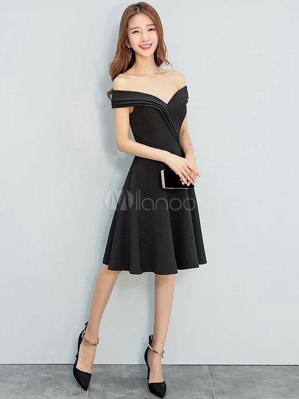 8c04fbae60 Cheap Party Dress · Little Black Dresses Satin Off The Shoulder Short  Cocktail Party Dresses-No.1 ...