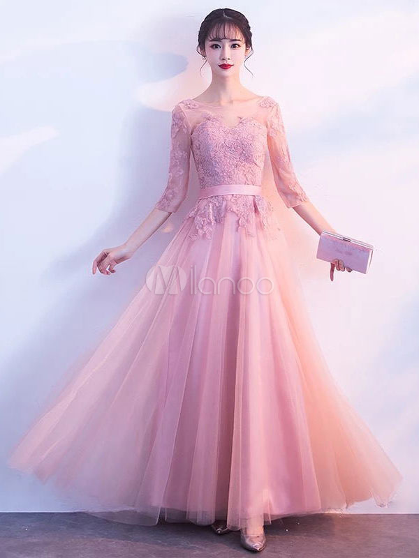 Pink Prom Dresses Long Tulle Lace Applique Half Sleeve Illusion Floor Length Formal Evening Dress