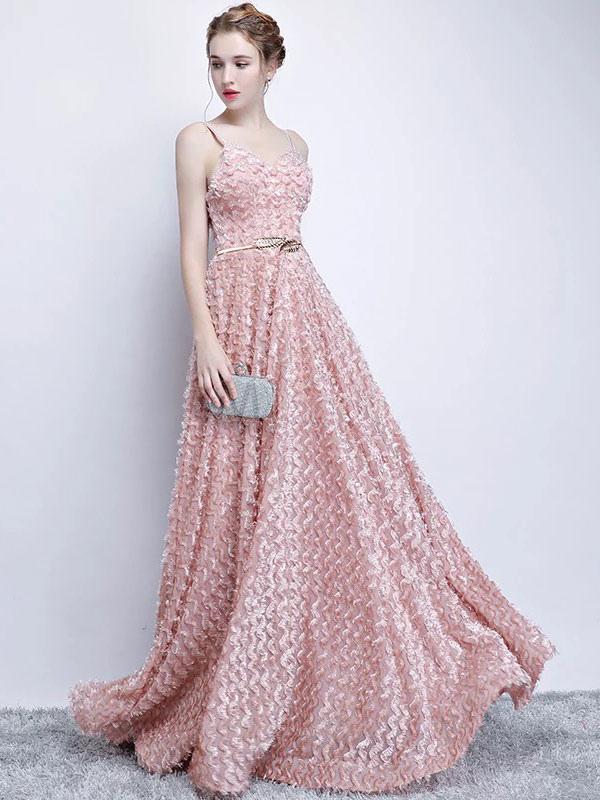 Blush Pink Prom Dresses Straps A Line Floor Length Evening Gowns