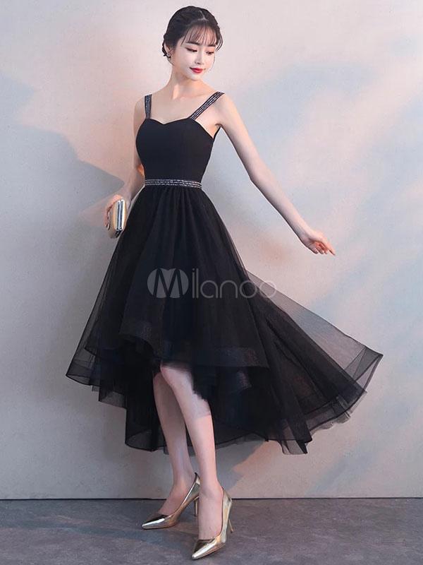 0c30eec95 Vestidos de fiesta negros Vestido de graduación lindo con tirantes bajos y  tul de tul- ...