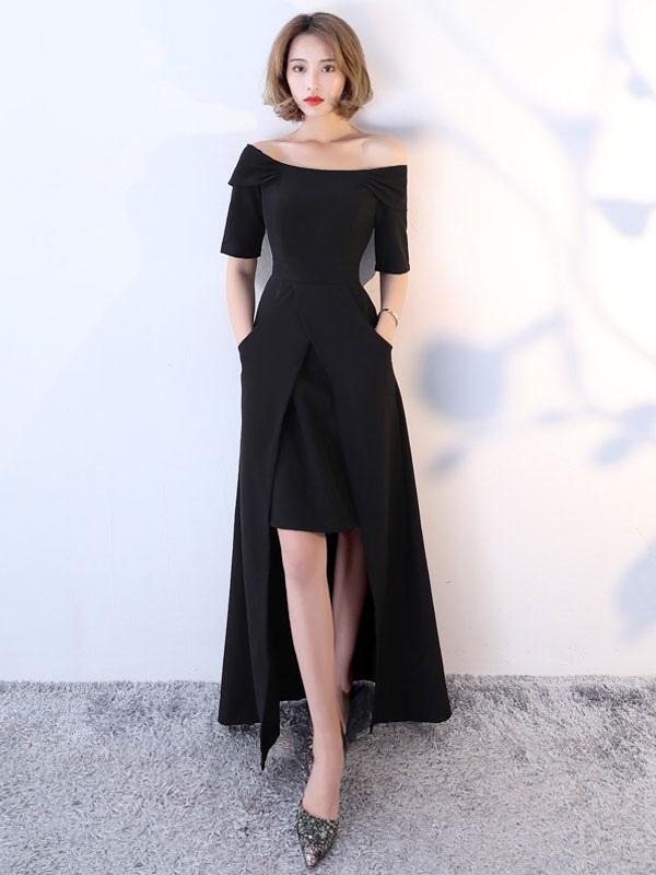 Vestidos De Fiesta Negros Medias Mangas Vestidos Largos Formales Asimétricos De Noche