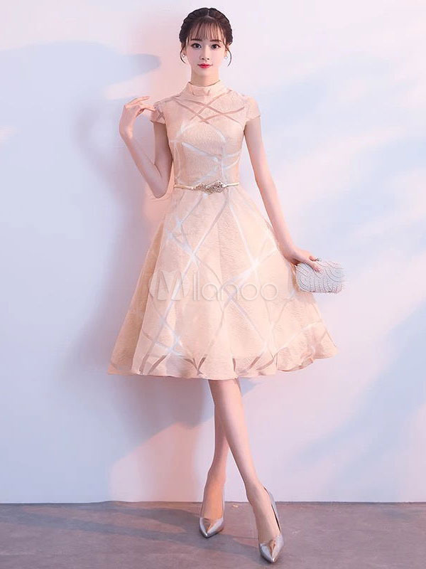 online retailer f5a87 2a293 Kurze Ballkleider Light Gold Lace A Line Stehkragen Tee Länge Cocktailkleid