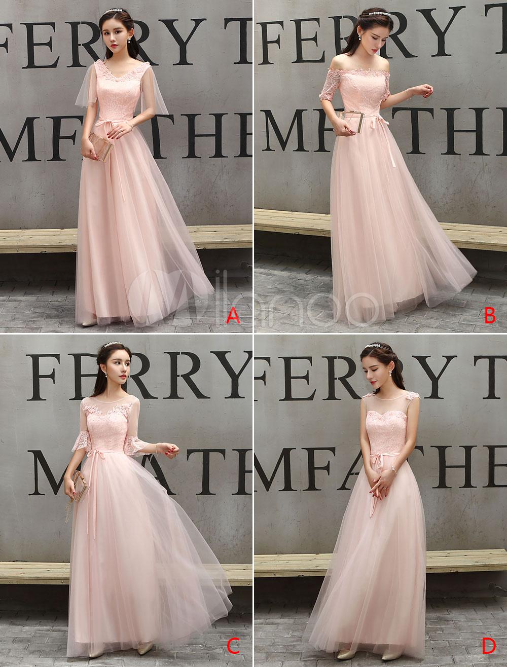 Peach Bridesmaid Dresses Long Prom Dress Tulle Floor Length Occasion Dress