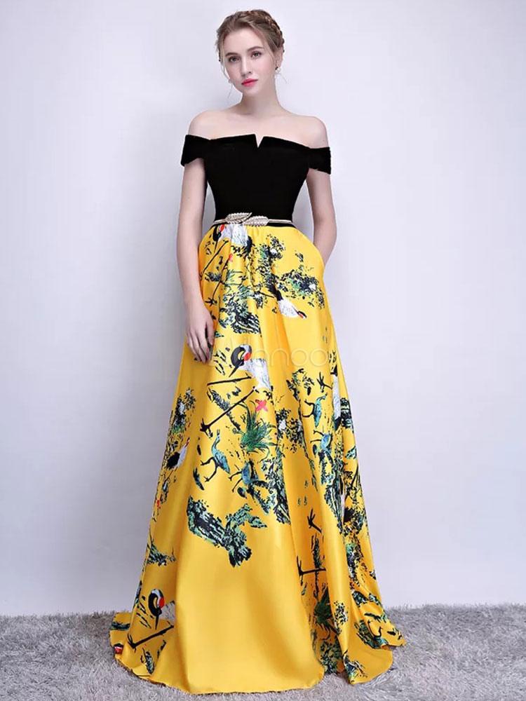 ec1a7bd8e0 ... Vestidos de baile largos estampado floral fuera del hombro Vestido de  fiesta de noche de terciopelo ...