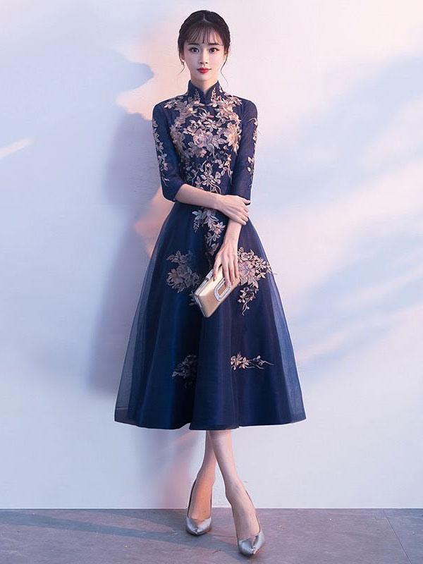 Cocktail Dresses Dark Navy Lace Stand Collar Tea Length Wedding Guest Dress