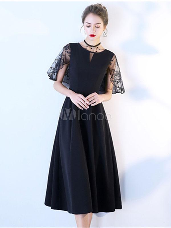 6cba940af7f8d Little Black Dresses Lace Satin Cocktail Dress Short Sleeve Tea Length  Party Dresses-No.