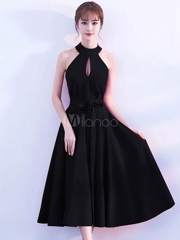 Black Prom Dresses Short Cocktail Dress Halter Cutoff Sleeveless Ribbon Sash Little Black Dress