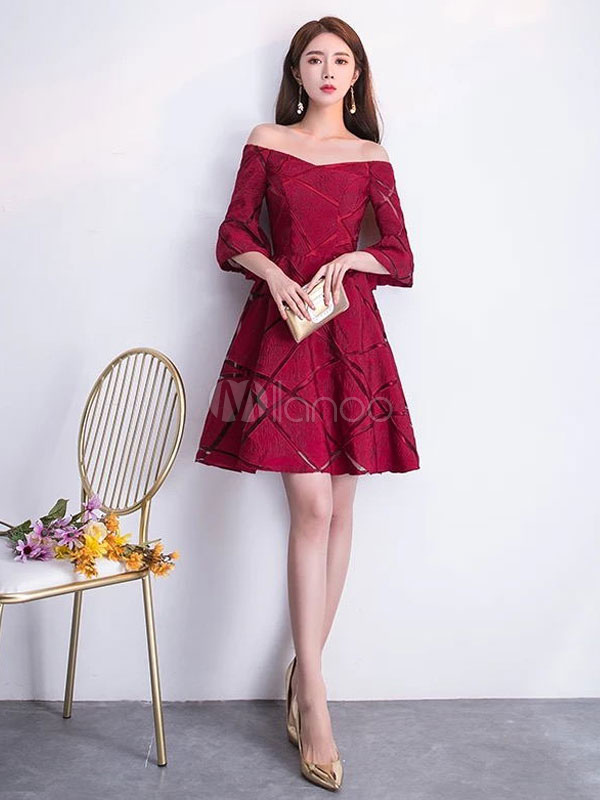 Buy Burgundy Graduation Dresses Lace Short Prom Dress Off The Shoulder A Line Mini Party Dresses for $114.39 in Milanoo store
