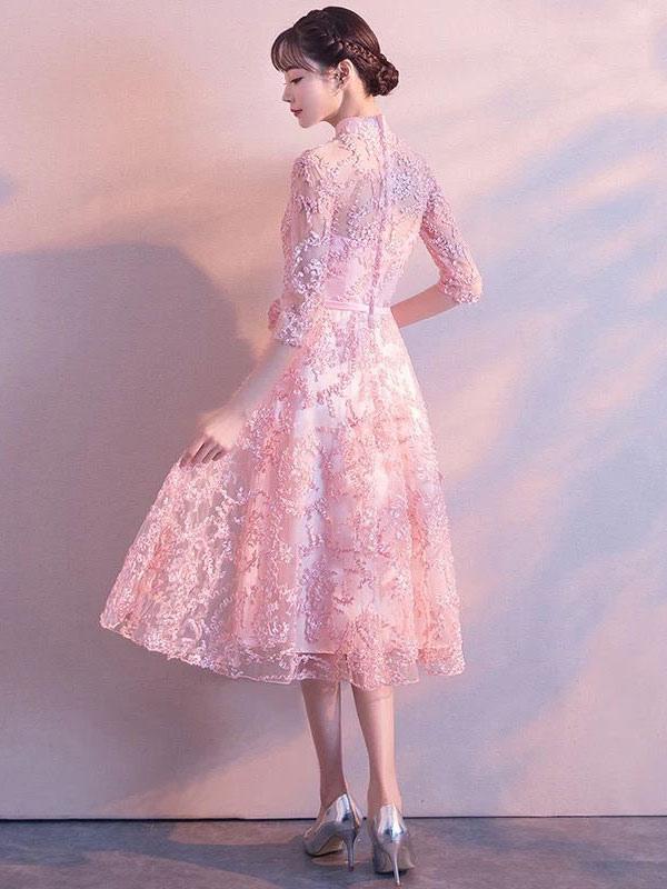 Vestidos de baile de encaje de color rosa suave Vestido de ...