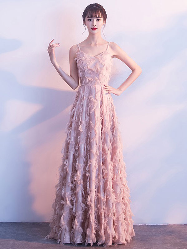 Vestidos de baile Blush Pink largo halter plumas sin mangas piso ...