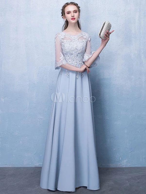 Evening Dresses Light Grey Half Sleeve Prom Dress Floor Length Formal Gowns