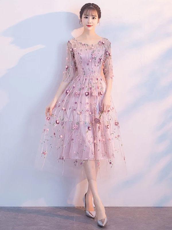 81fc4dd140b ... Short Prom Dresses Soft Pink Lace A Line Half Sleeve Tea Length Graduation  Party Dress- ...
