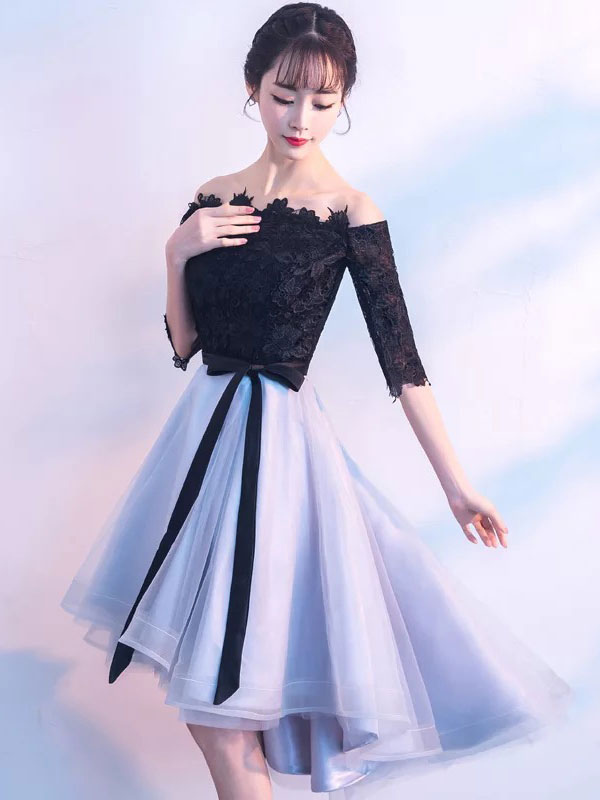 Short Prom Dresses Off The Shoulder Lace Tulle Ribbon Sash Half Sleeve Organza Graduation Party Dress