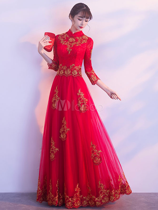 Red Evening Dresses Stand Collar Long Sleeve Floor Length Formal Dress