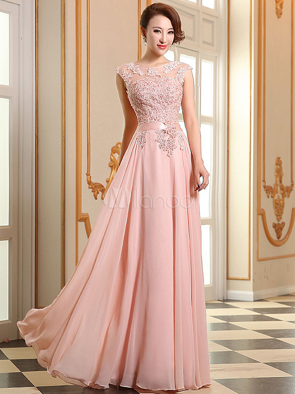 Prom Dresses Soft Pink Lace Applique Evening Dresses Chiffon Sleeveless Sash Floor Length Formal Gowns