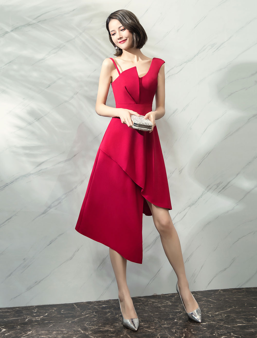Cocktail Dresses Burgundy Asymmetrical Satin Wedding Guest Dress