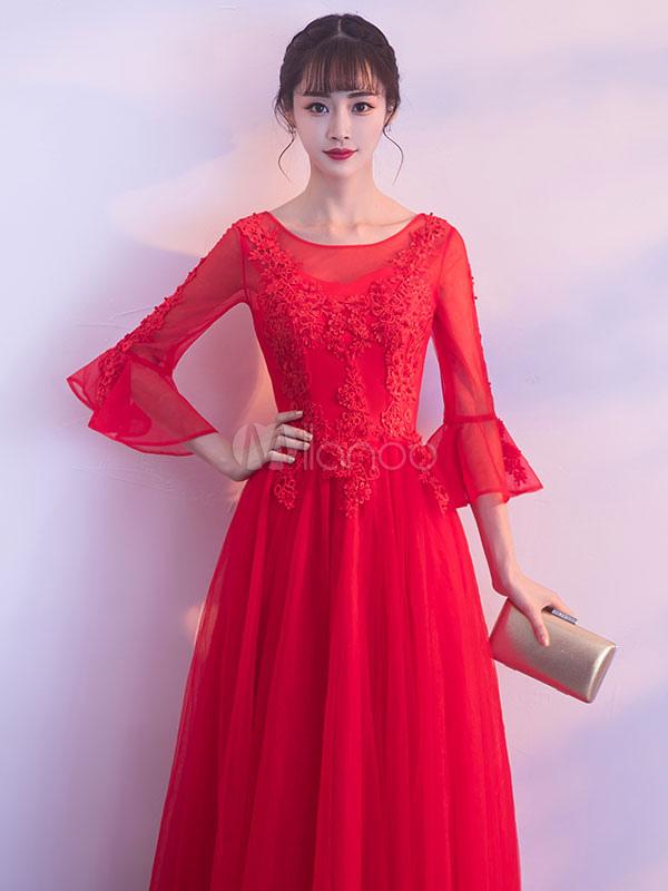 Lujo De Encaje Vestido De Fiesta Rojo Embellecimiento - Ideas de ...