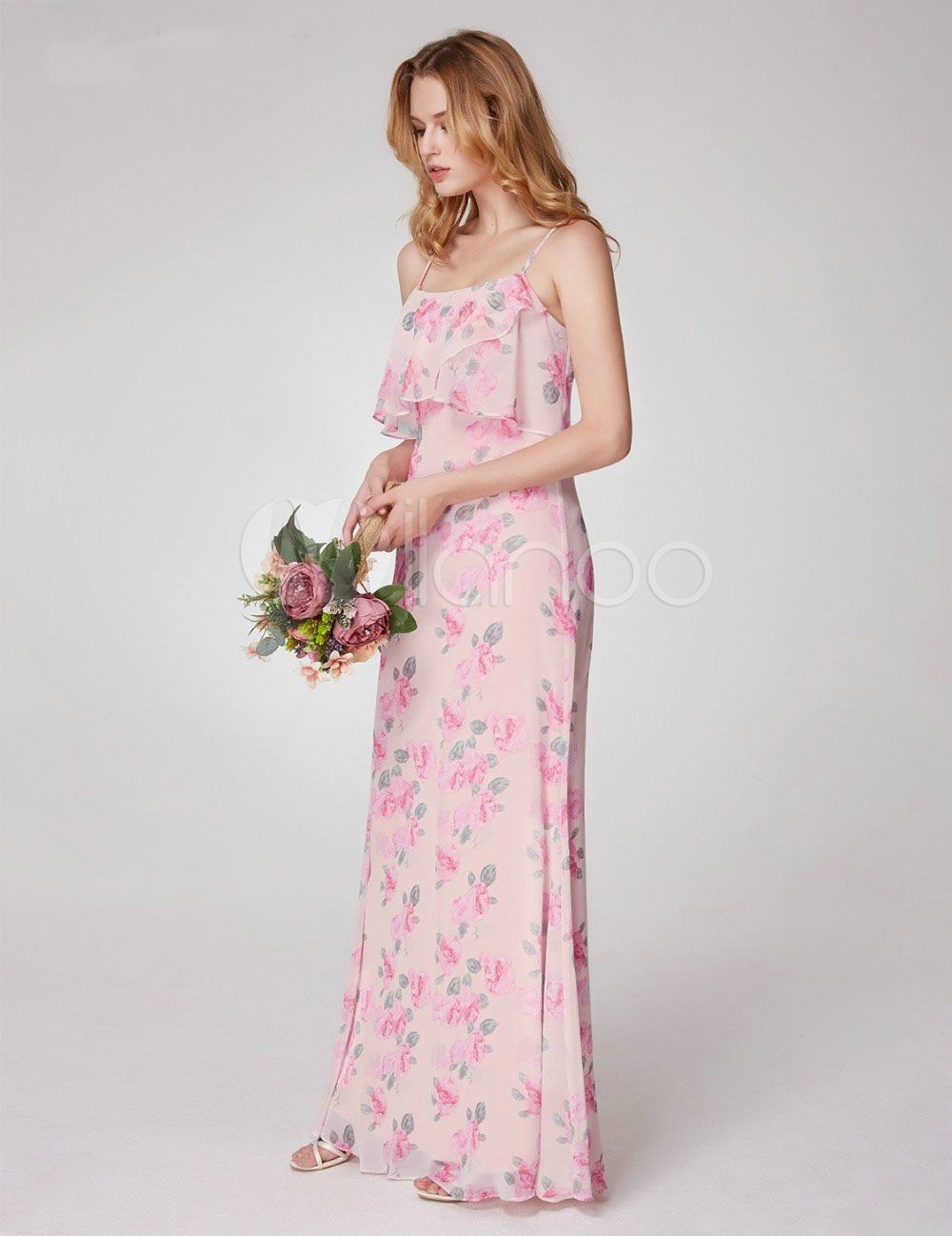 Lange Brautjungfer Kleider Floral Printed Sommer Brautjungfer Kleid ...