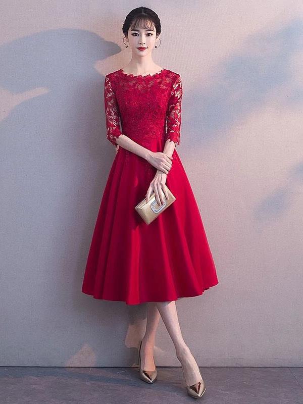 Short Prom Dresses Lace Half Sleeve Burgundy A Line Tea Length Graduation Party Dress