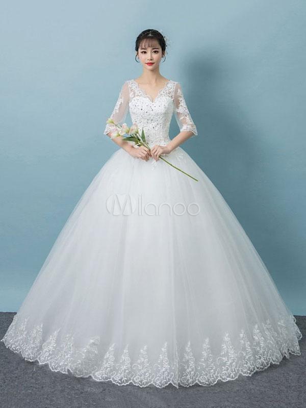 Princesa Vestidos De Noiva Rendas V Neck Meia Manga Backless Frisada Até O Chão Vestido De Noiva Branco