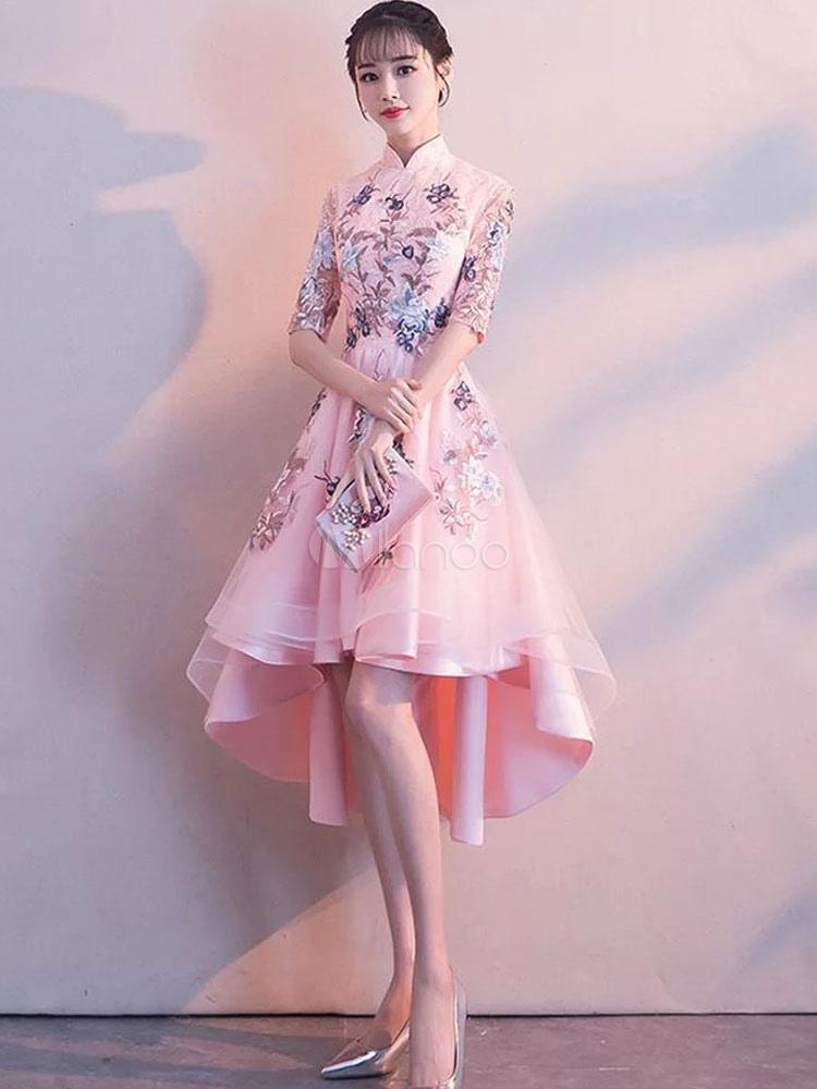 Vestidos de graduación Soft Pink Flowers bordado Stand High High Low ...