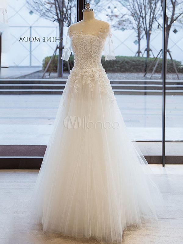 vestidos de novia blancos una línea de encaje de media manga tulle