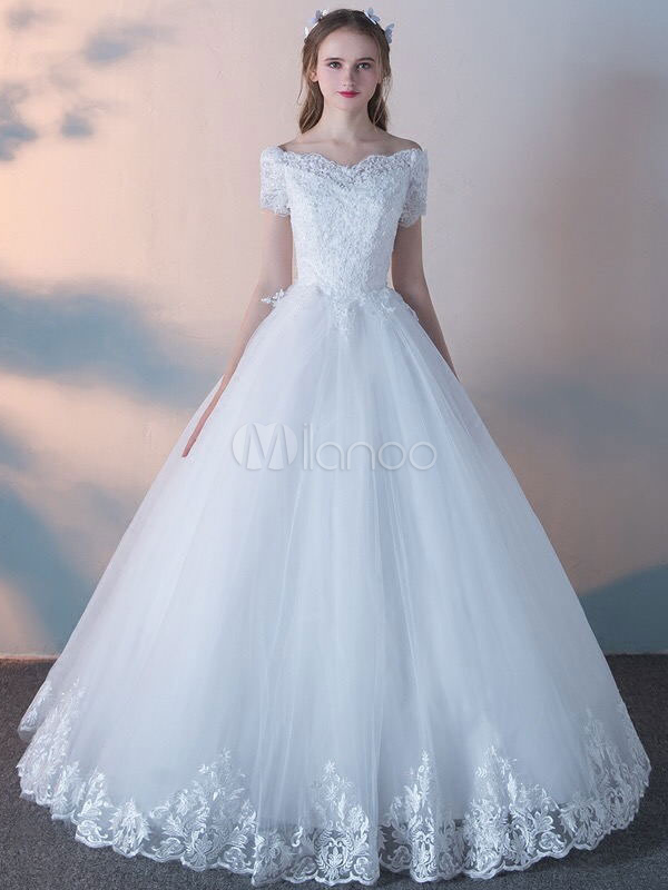 White Wedding Dresses Princess Ball Gowns Lace Short Sleeve Beaded