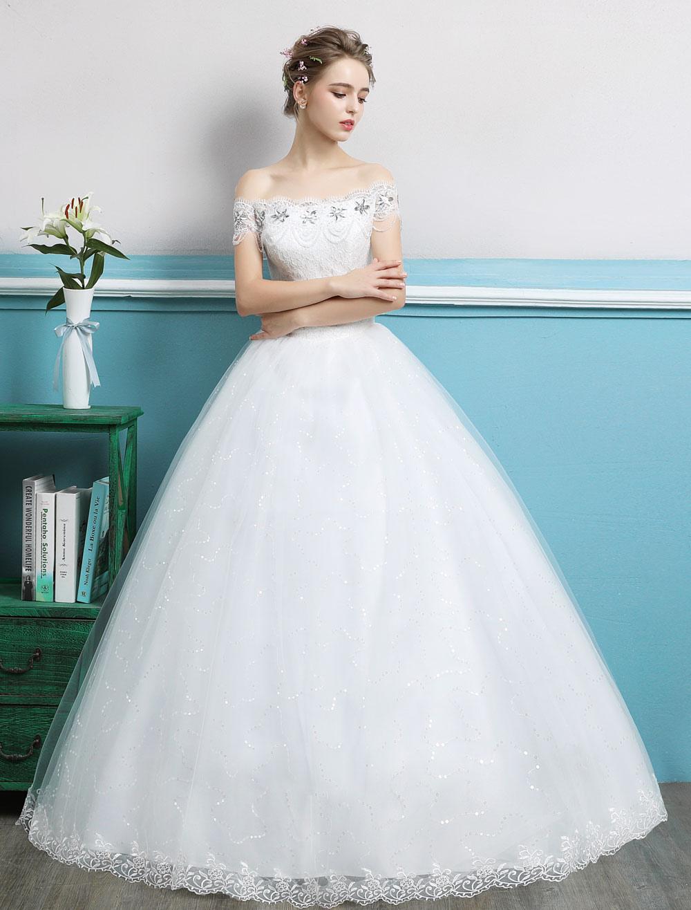 Princess Ball Gown Wedding Dresses Off Shoulder Lace Rhinestones ...