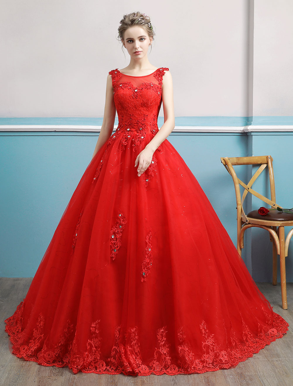 eb2bf9d452ed Red Wedding Dresses Lace Applique Beaded Princess Ball Gowns Train ...