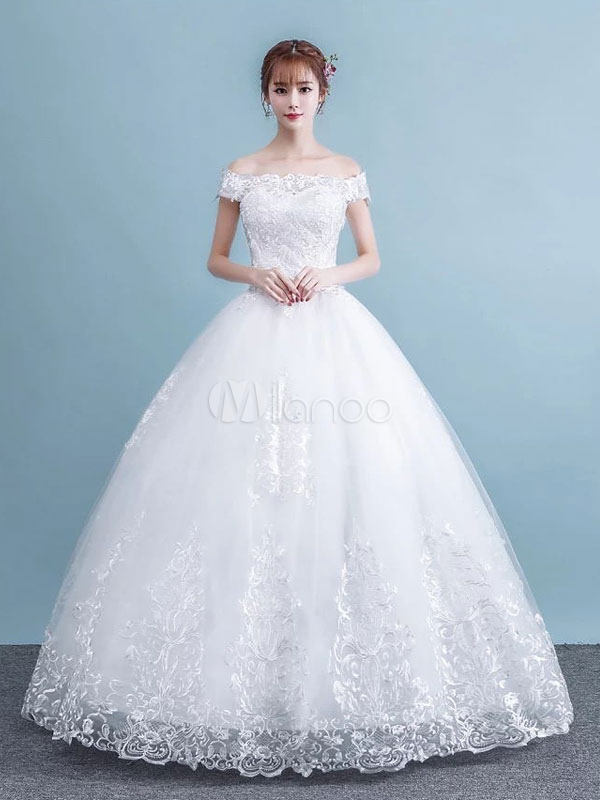 Princess Ball Gown Wedding Dresses White Off The Shoulder Lace