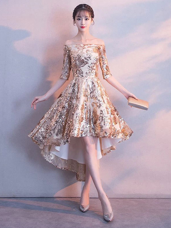 Short Prom Dresses Light Gold Sequin High Low Half Sleeve Asymmetrical Gradation Dress