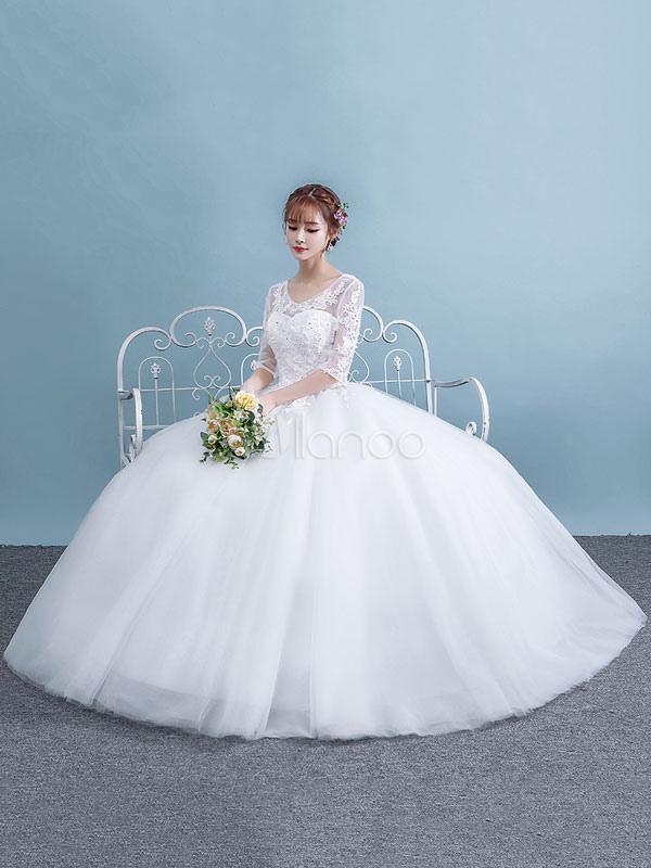 7f8a9bb2f4c78 ... فساتين زفاف بيضاء نصف كم الرباط ثقب المفتاح تول الأميرة الكرة بثوب  الزفاف فستان-No